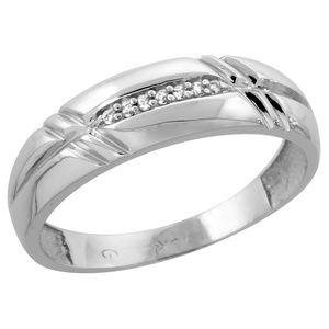 Jewelry - 6mm 10k White Gold unisex Diamond Wedding Band
